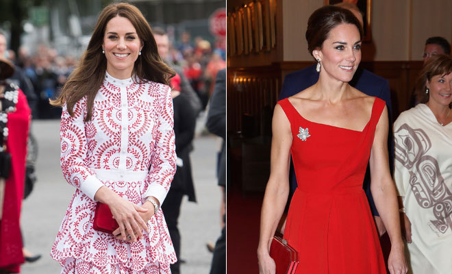 princesse Kate en robe rouge au Canada